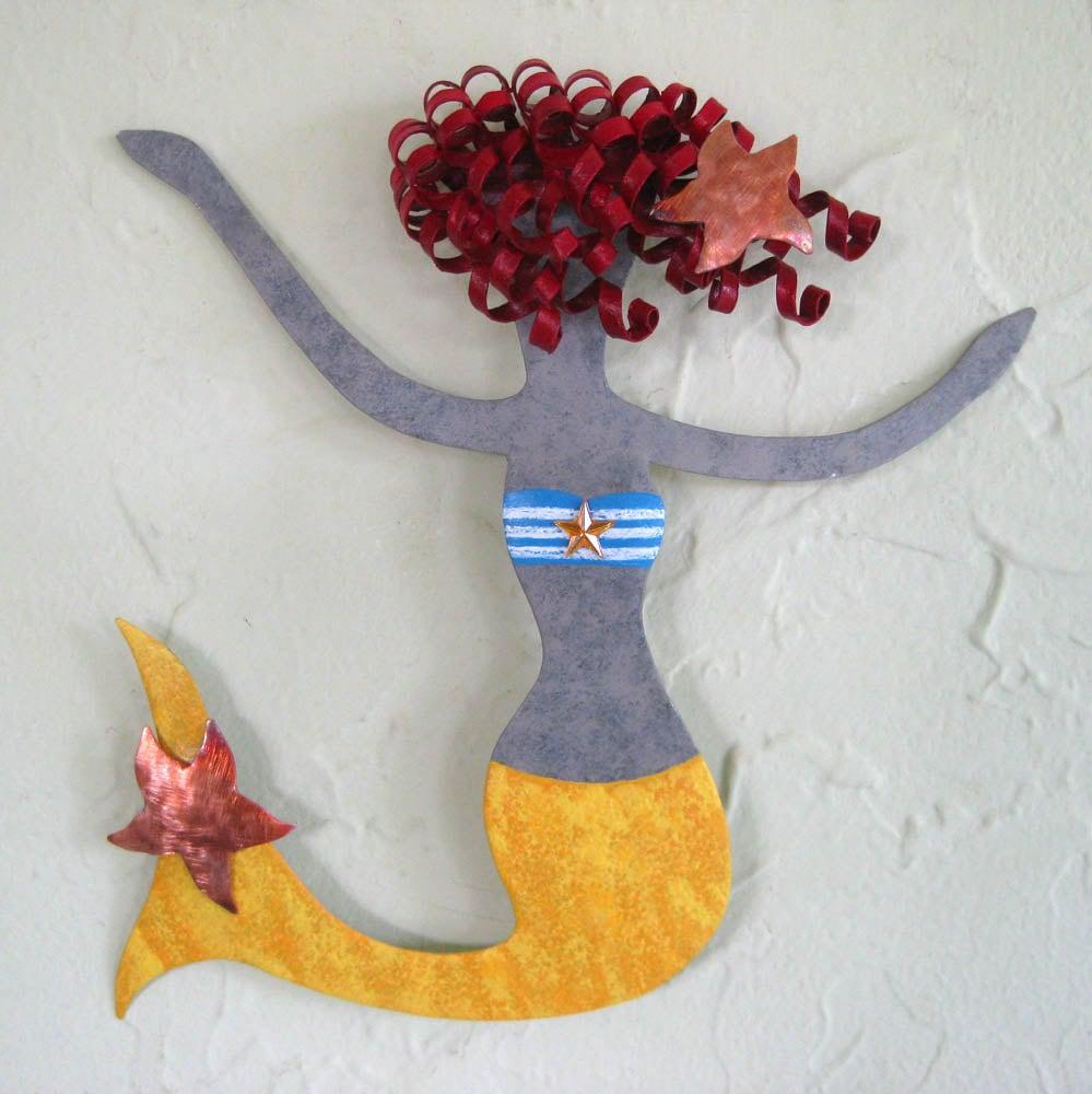 Mermaid Art Metal Wall Art Sculpture Rosie By