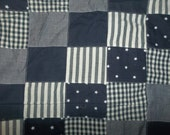 """Patchwork Pre-Sewn Fabric Gingham Check Stripe Stars Navy Blue White Gray Sewing Home Decor Fabric Clothing 42"""" x 43"""""""