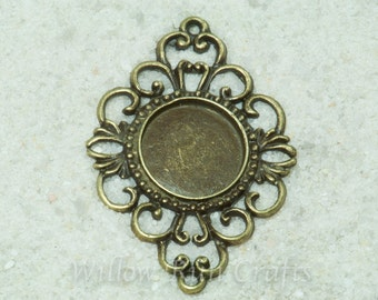 10 pcs 18mm Antique Brass Victorian Style Pendant Trays with 10 Glass Cabochons 18mm(19-16-330) Blank Bezel Cabochon Settings