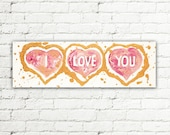 Gold and Pink Heart Sign, Heart Painting Canvas Art, Heart Art Decor, Love Decor, Hearts Wall Art Door Sign, Valentine's Day Gift