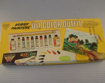 Set of Eight Vintage Weber Artist Oil Paints in Original Box Hobby Paint Set