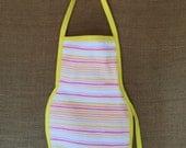 Toddler Apron (Montessori Style,Velcro closure, yellow stripes)