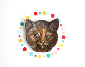 Solid Brass Cat Dish / Antique Cat Trinket Dish / Cast Metal Cat Pin Dish