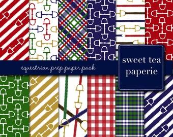 Equestrian Prep Digital Paper Pack (Instant Download)