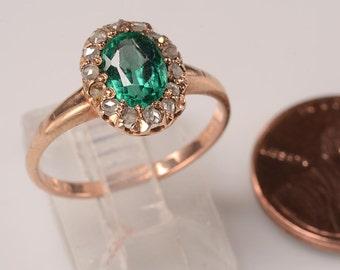 14kt yg Ring: Rose Diamonds, Sparkling Green Garnet Doublet - Georgian Style, halo design-Perfect engagement ring, subtle token of affection