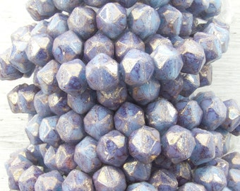 8mm Faceted Opaque Blue Violet Lumi Luster Vintage Cut Czech Glass Beads - Qty 20 (BW372)