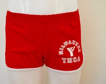 Vintage MILWAUKEE YMCA short shorts CHAMPION Blue Bar 1960's 70's usa small