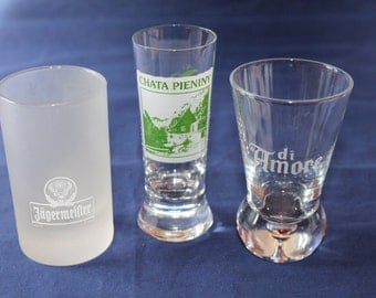SALE! Vintage Collection of Three Shot Glasses, Chata Pieniny, Jagermeister and di Amore