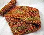 Autumn  crocheted cashmere silk scarf OOAK