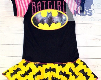 BATGIRL a super cool funky upcycled  pieced  PEPLUM TUNIC top  made out of authentic Batgirl tee size 4