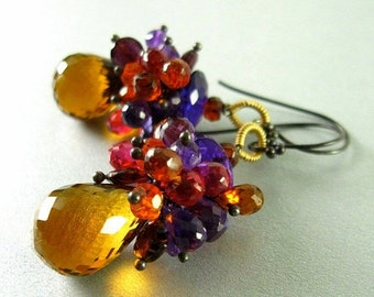 End Of Summer Sale Madeira Citrine, Amethyst, Garnet and Quartz Wire Wrapped Earrings