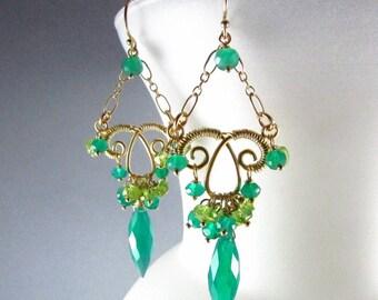 Green Onyx Marquis Earrings - Jungle Vines