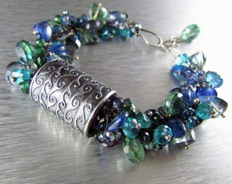 25 OFF Anne Choi Wave Bead With Kyanite, Quartz and Apatite Cluster Sterling Silver Wire Wrapped Bracelet