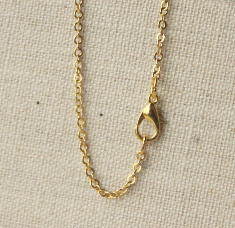 22 inch gold plated chain necklace anti tarnish finish small