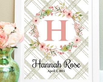Personalized Nursery Print, Baby Girl Nursery Wall Decor, Custom Name Print, New Mom Gift, Nursery Art, Child Wall Art, Floral Monogram
