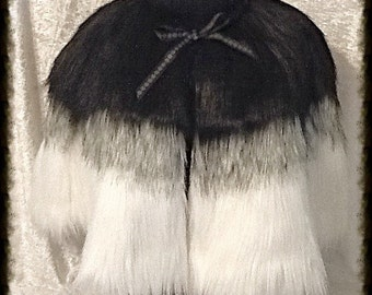 Black, Grey, and White Faux Fur Ombré Cape with Satin Lining