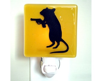 Funny Night Light, Gerbil With a Gun, Hand Painted Fused Glass