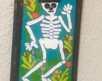 Fused glass Dia de los Muertos Day of Dead Skeleton Wall Art Plaque Hanging
