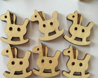 New Stock - Rocking Horse Die Cut Wooden Buttons - Crafts, Novelty, Kids (6)