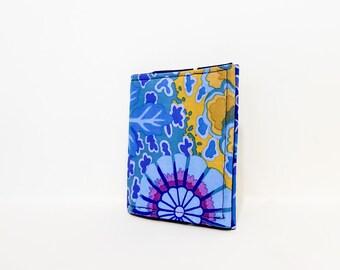 Fabric Wallet, Floral Wallet,  Bi-Fold Wallet, Slim Wallet, Pretty Wallet, Gift for Her, Mothers Day Gift, Kaffe Fasset in Dream Blues