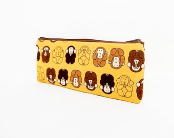 Monkey Pouch, Zipper Pouch, Pencil Case, Pouch, Fabric Pouch, Cute Pouch, Gold Pouch, Small Pouch, Three Monkeys See, Hear, Speak No Evil