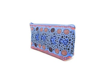 Fabric Zipper Pencil Case, Aboriginal Design Pouch, Fabric Pouch, Pencil Pouch, Zipper Case, Cosmetic Bag, School Supply, Large Zipper Case