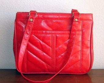 SALE --- Cherry Red Chevron Quilted Vinyl Shoulder Bag