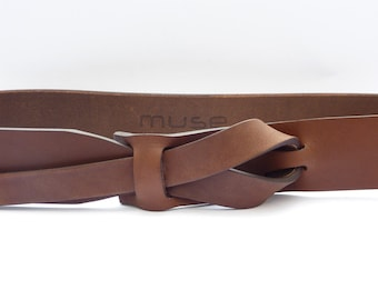 Equestrian Flat Brown Muse Leather Belt 1.5 inch,Nickel-Free, Free shipping