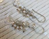 CUPID SALE xOx Quartz Dangle Earring Wire Wrap Sterling Silver Pearls Minimalist Bridal Jewelry Wedding Earrings Handmade White Quartz