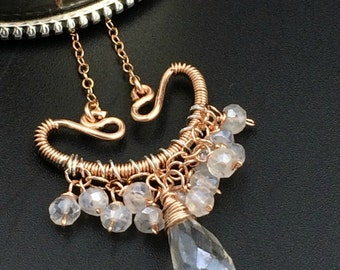 Rose Gold Wire Wrap Pendant Mystic Quartz Boho Chic Gemstone Dangle Pendant Dainty Fringe White Gemstone Pendant Rose Gold Bridal Choker