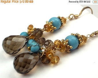 50% OFF SALE Brown Gemstone Earring Smokey Quartz Turquoise Citrine Gold Filled Wire Wrap Cluster Earrings Fall Fashion Brown Dangle Earring