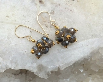 CUPID SALE Labradorite Cluster Earrings 14kt Gold Fill Wire Wrapped Petite Labradorite Cluster Wedding Earring Bridesmaid Grey Earrings Ever