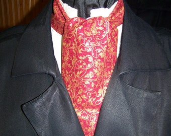 """Ascot with pocket square Red and Gold Metallic swirls cotton fabric 4"""" x 43"""" Mens Historial Bow Tie or Wedding Tie"""