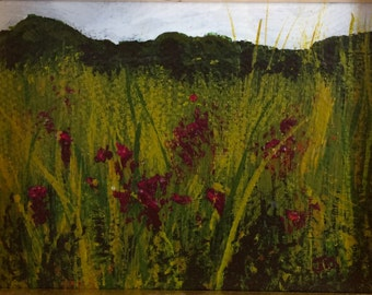 Purple Flowers in Field - Original Acrylic Painting Framed