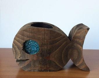Wood Fish Sculpture, Candleholder, Tea-light holder, Kitsch 70's Decor, Carved Whale