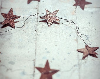 Garland with 5 metal stars - metal - wire - Chritmas wedding  home decor
