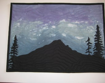 Mountain Sky Silhouette Quilted Wall Hanging