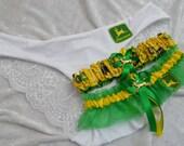 BONUS New Handmade wedding garters keepsake and toss JOHN DEERE wedding garter set with matching John Deere panites