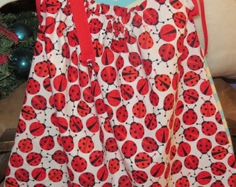 New handmade lady bugs pillowcase dress size 18 months