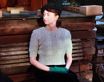 Handknitted jumper, 40s sweater, embroidered mint sweater 1940's mid century 50s style