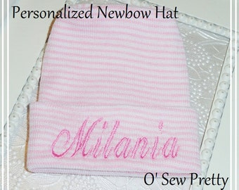 Personalized Baby Girl Hat, Newborn Baby hat, Infant hat, Pink Newborn Hospital hat, Personalized Hospital Hat, Baby Girl Hat, My First Name
