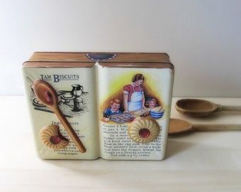 vintage English jam biscuits cookie tin embossed spoon Silver Crane Company