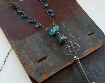 Vintage Skeleton Key Necklace - Secret Garden - All Sterling Silver with Blue and Aqua Czech Glass Crystal Accents - Boho Necklace Handmade