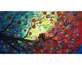 Original LARGE Whimsical Tree Large Painting Happily Ever After by Luiza Vizoli 58x30 ready to ship