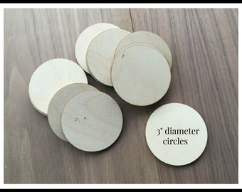 50 Pieces- Unfinished Wood Laser Cut Round Circles 3 inch