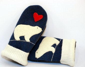 Sweater Mittens Recycled Polar Bear Felted Wool in Blue Red  and White with Applique and Leather Palm Eco Friendly Upcycled  Size S/M
