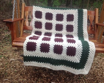 Victorian Christmas Handmade Granny Square Afghan FREE SHIPPING