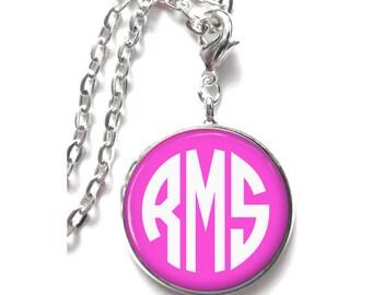 Pink Monogram Necklace, Monogram Jewelry, Personalized Necklace, Mongram Gift (330)