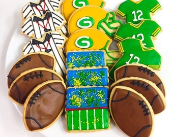 GREEN BAY PACKER Cookies, Decorated Sugar Cookie Gift Tin, 18 Cookies