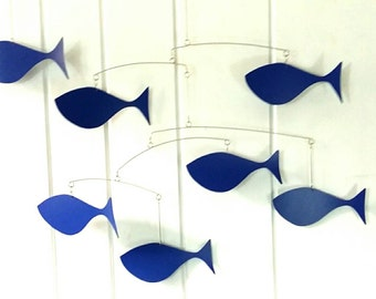 Fish Mobile, Large Mobile, School of Fish Mobile, Mid Century Modern Fish Mobile, Royal Blue, Navy Blue, Large Fish, Calder Inspired